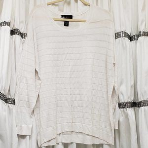 Lane Bryant Semi Sheer Gauzy Striped White Sweater